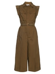 Muveil Cropped Wide Leg Cotton Jumpsuit Khaki