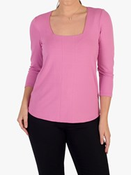 Chesca Square Neck Long Sleeve Top Pink