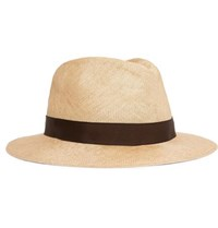 Anderson And Sheppard Grosgrain Trimmed Straw Panama Hat Beige