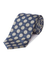 Chester Barrie Large Spot Silk Tie Mid Blue