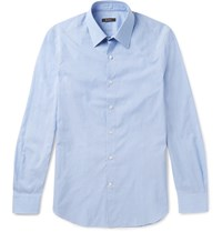Berluti Slim Fit Cutaway Collar Striped Cotton And Linen Blend Shirt Blue