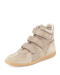 Maison Martin Margiela Leather Grip Strap High Top Sneaker Light Brown Maison Margiela