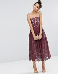 Asos Delicate Lace Bandeau Prom Dress Oxblood Red