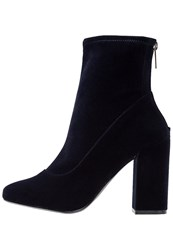 Miss Selfridge Alanis High Heeled Ankle Boots Navy Blue Dark Blue