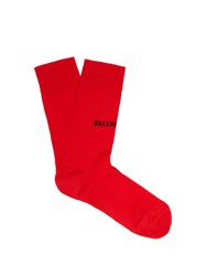 Balenciaga Intarsia Logo Cotton Blend Socks Red