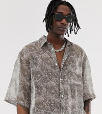 Heart And Dagger Sheer Shirt In Grey With Greek Print