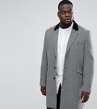 Asos Plus Wool Mix Overcoat In Herringbone With Velvet Collar Grey