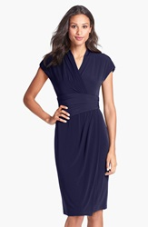 Maggy London Jersey Faux Wrap Dress Navy