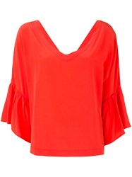 Erika Cavallini V Neck Ruffle Sleeve Blouse Red