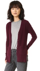 Rta Andre Destroyed Cashmere Cardigan Wine