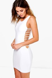 Boohoo Strappy Side Bodycon Dress Cream