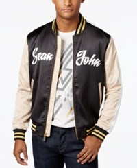 Sean John Men's Satin Bomber Jacket Black