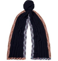Missoni Space Dyed Cashmere And Wool Blend Scarf Navy