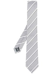 Armani Collezioni Diagonal Striped Tie Grey
