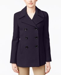 Calvin Klein Petite Wool Cashmere Blend Double Breasted Peacoat Midnight