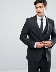 Asos Skinny Suit Jacket In Charcoal Charcoal Grey