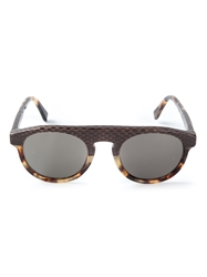 Retro Super Future Rectangular Contrasting Frame Sunglasses Brown