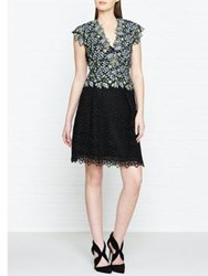 Reiss Idie Lace Contrast Embroidered Dress Blue Black Blue Black