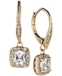 Anne Klein Gold Tone Pave Crystal Drop Earrings