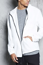Forever 21 Hooded Zip Up Jacket White Black
