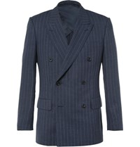 Kingsman Blue Harry Double Breasted Pinstriped Wool Suit Jacket Navy