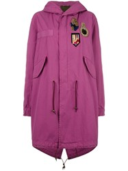 Mr And Mrs Italy Multi Patch Hooded Coat Pink Purple