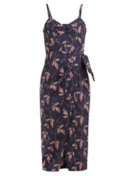 Rebecca Taylor Ivie Floral Print Cotton Midi Dress Navy Multi