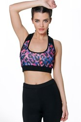 Boohoo Fit Leopard Print Sports Crop Black