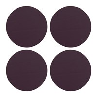 Amara Round Leather Coasters Set Of 4 Aubergine