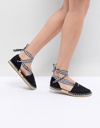 South Beach Two Part Espadrilles In Black With Gingham Tie