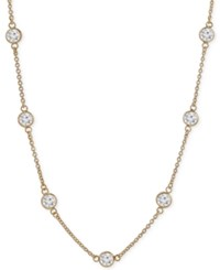 Giani Bernini Cubic Zirconia Bezel Set Statement Necklace In 18K Gold Plated Sterling Silver Only At Macy's Yellow Gold