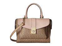 Calvin Klein Alexis Monogram Satchel Text Khaki Brown Sugarplum Satchel Handbags Beige