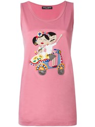 Dolce And Gabbana Dg Family Patch Tank Top Pink Purple