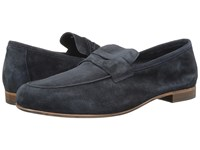 Massimo Matteo Suede Penny Loafer Navy Blue Suede Slip On Shoes