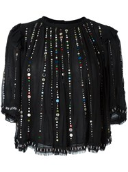 Isabel Marant Sequin Embroidered Blouse Black