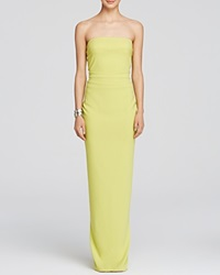 Nicole Bakti Gown Strapless Ruffle Back Chartreuse