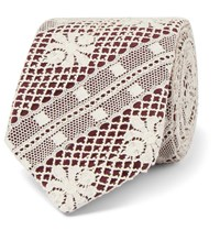 Marwood 7Cm Cotton Lace And Silk Twill Tie Burgundy