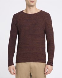 Revolution Mottled Brown 6293 Cotton Knit Round Neck Sweater