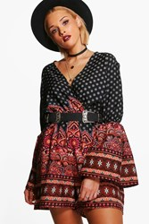 Boohoo Plus Lydia Paisley Print Wrap Playsuit Multi