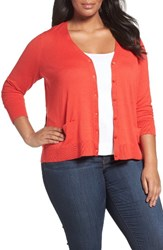 Sejour Plus Size Women's V Neck Pocket Cardigan Red Bloom