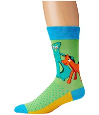 Socksmith Gumby And Pokey Lime Men's Crew Cut Socks Shoes Green