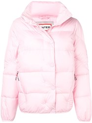 Hunter Buttoned Puffer Jacket Pink And Purple