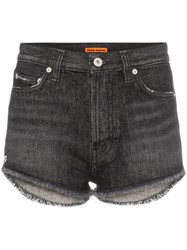 Heron Preston Distressed Hem Denim Shorts Black