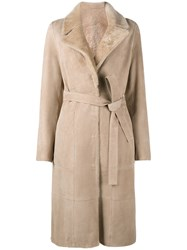 Yves Salomon Belted Trench Coat Nude Neutrals