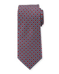 Neiman Marcus Chain Link Printed Silk Tie Red