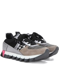 Dolce And Gabbana Metallic Leather Suede Fabric Sneakers Grey