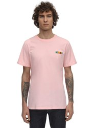 Moschino Logo Patch Cotton Jersey T Shirt Pink