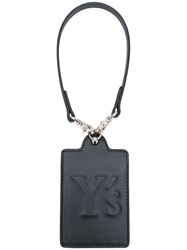 Y's Logo Embossed Tag Leather Black