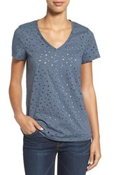 Caslonr Women's Caslon Graphic Burnout V Neck Tee Grey Ebony Star Pattern