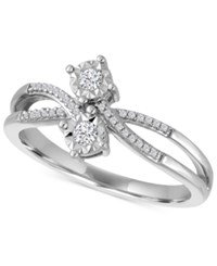 Macy's Diamond Two Stone Bypass Ring 1 10 Ct. T.W. In Sterling Silver